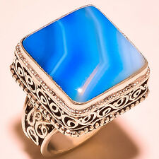 "STUNNING BOTSWANA AGATE GEMSTONE VINTAGE STYLE .925 STERLING SILVER RING ""8"""