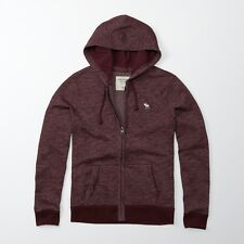 New Abercrombie & Fitch Mens Icon Full Zip Burgundy Sweatshirt Hoodie Large