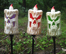 3 Candles on Stakes Lighted Scary Sound Effects Halloween Yard Decor Prop