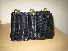 VINTAGE RARE 1940s/50s nero in plastica di vimini Design Signora Borsetta