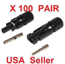 100 pairs M/F MC4 Male Female 30A Wire Cable Connector Set Solar Panel USA