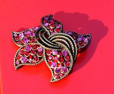 SIGNED KRAMER OF NEW YORK CRYSTAL STAR FLOWER BROOCH PINK RED GORGEOUS