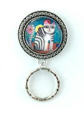 Colorful Tabby Cat Magnetic Badge Eyeglass Holder, Magnetic Brooch,  Design #3