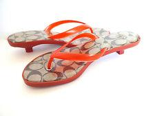 New Coach Carin Transparent Orange Signature Flip Flops Sandals Shoes sz 8 M