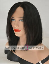 Women's Short Bob Lace Front Wigs Black Straight Heat Resistant Synthetic Wig UK