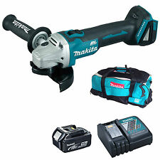MAKITA 18V DGA454 ANGLE GRINDER BL1840 BATTERY DC18RC CHARGER & LXT600 BAG