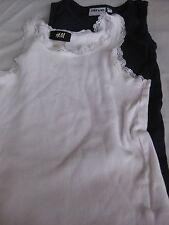 2 Stück Achselshirt, Shirt, Ärmellos Gr.110/116 alive,H&M,Spitze,weiß/blau, Top