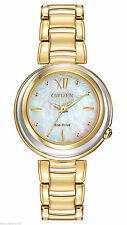 NEW CITIZEN ECO DRIVE WOMENS SUNRISE ANALOG DISPLAY QUARTZ GOLD WATCH EM0334-54D