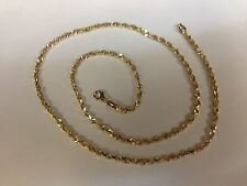 "10KT Solid Gold Diamond Cut Rope Chain Necklace 22"" 3 mm 11 grams (023rr)"