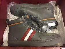 NEW BALLY HERVEY 215 GREY CALF PLAIN SNEAKERS MEN SIZE US 6 D, UK 5 E, EUR 39