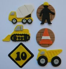 12 edible BUILDING CONSTRUCTION TRUCK earth moving cake CUPCAKE TOPPER road SIGN