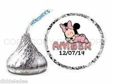 108 Baby Minnie Mouse Baby Shower Hershey Kiss Labels Stickers Personalize ANY