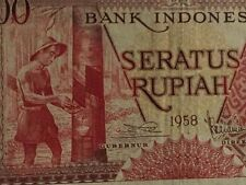 1958 Indonesia 100 rupiah banknote very scare !