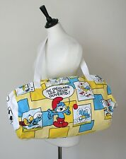 Smurfs  / Les Schtroumpfs Shoulder Bag - Multi-Colour Cotton - 1980s - X Large