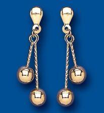 9K Oro Giallo Bastone Della Perla Doppio Orecchini A Goccia 26mm