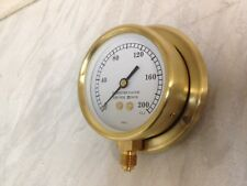 """3"""" Brass pressure gauge for steam driven models with back plate 0-200psi"""