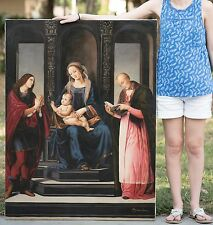 LARGE Original Oil Painting, High Renaissance, Aft. Lorenzo Credi, Mary & Christ