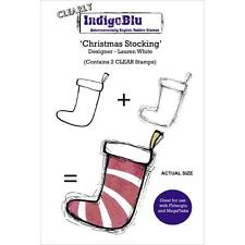 New Cling IndigoBlu RUBBER STAMP clear set free usa ship CHRISTMAS STOCKING