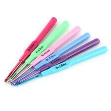 6pcs Ergonomic Multicolour Plastic Handles Crochet Hooks Needles 2.5-5mm OV