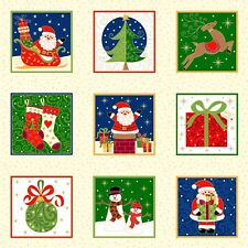 Christmas Novelty Labels Panel Quilting Fabric 55 Individual Panels 1507 Makower