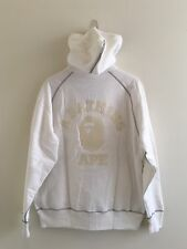 100%Authentic Classic A BATHING APE white/gray zip hoodie L Knit Trims RARE
