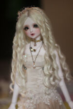 """BJD Doll Hair Wig 8-9""""1/3 SD DZ DOD LUTS Blonde Long Curly Parted in the middle"""
