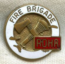 Vintage & Obsolete Small WWII Rohr Aircraft Co. Fire Brigade Enameled Badge