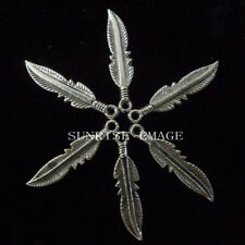 30PC Tibet Silver Dangle Charm Double-sided Beads Feather Leaves 5.5*25mm PJ002