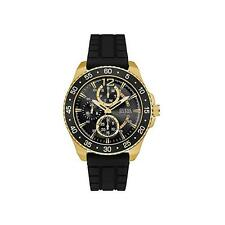 GUESS MEN'S JET 46MM BLACK RUBBER BAND STEEL CASE QUARTZ WATCH W0798G3