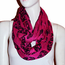 New HotPink/Black Skull Light Weiget  X-Lgrge Infinity Scarf Loop Cowl