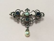 ANTIQUE AUSTRO HUNGARIAN SILVER GILT SAPPHIRE & PEARL BROOCH PIN 1900