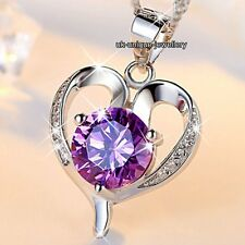 CHRISTMAS SALE - 925 Silver Purple Crystal Diamond Heart Necklaces Gifts For Her