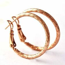 Fashion jewelry Womens Vintage style Rose Gold Filled round Hoop Earrings