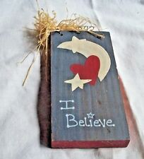 I BELIEVE WOODEN INSPIRATIONAL PLAQUE MULTI COLOR WALL HANGING MIXED MATERIALS