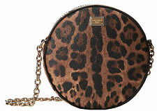NWT Dolce & Gabbana Runway Glam Circle Leopard Tracolla Leather Crossbody Bag