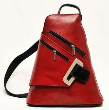 Italienischer Leder Rucksack wunderschönes Design rot schwarz Beutelrucksack