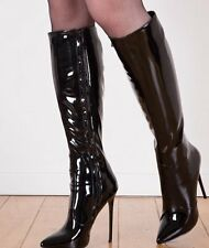 Patent knee boots 14cm Sexy schwarz black fetish sky  high heels 42 43