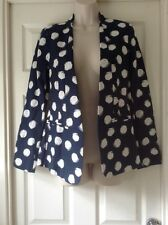 M&Co Daisy Collection, Navy Spotted Blazer, Long Sleeve, Lined, Size 10