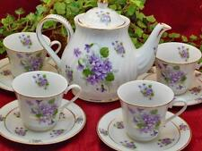Violet Flowers Porcelain Tea Set : Tea Pot and Four Cups and Saucers MADE IN USA