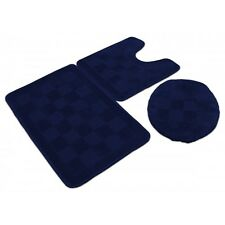 3 Piece Solid Navy Blue Bathroom Set Bath Mat Contour Lid Cover Rug Carpet