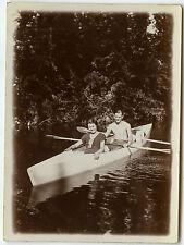 PHOTO ANCIENNE - CANOÉ RIVIÈRE COUPLE TORSE NU - KAYAK RIVER - Vintage Snapshot