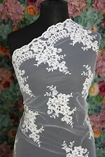 SK0158 Sold by 1/2 yard Ivory french corded Lace bridal Fabric 56 Wide Scalloped