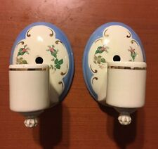 Vtg 1930s Pair Of Art Deco Porcelain Electric Wall Lighting Sconces Blue Floral