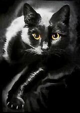 ACEO  MINIATURE 2-1/2 X 3-1/2 INCHES BLACK CAT GOLDEN EYES  OIL PAINTING
