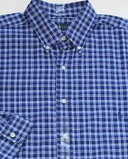 New $125 Polo Ralph Lauren Long Sleeve Blue Plaid Cotton Poplin Shirt / 3XLT