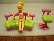 Polly Pocket Beauty Shop Bench and a Hair stylist Barber style chair 3 pc lot