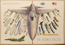 (PRL) 1987 AEREO CACCIA JET F16 FIGHTING FALCON VINTAGE AFFICHE POSTER ART PRINT