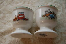 "TWO 2 1/4"" PORCELAIN EGG CUP BY VILLEROY & BOCH - FOXWOOD TALES PATTERN"