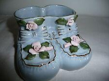 Vtg Capodimonte Flower Porcelain Baby Bootie Planter w Gold Gilt Trim-UNIQUE!!