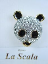 La Scala Gold Plated Panda Brooch with Swarovski Crystals & Black Enamel
